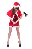 Snow girl santa in christmas concept Stock Photography