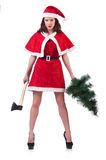 Snow girl santa in christmas concept isolated Royalty Free Stock Image
