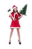 Snow girl santa in christmas concept isolated Royalty Free Stock Photos