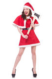 Snow girl santa in christmas concept isolated Stock Photo