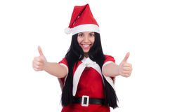Snow girl santa in christmas concept isolated Royalty Free Stock Photo