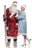 Snow girl and Santa isolated on white Stock Images