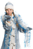 Snow girl sending air kiss Stock Images