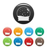 Snow glass ball icons set color vector illustration
