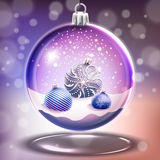 Snow glass crystal ball with christmas balls Stock Images