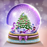 Snow glass crystal ball with christmas tree and gifts card Royalty Free Stock Photography