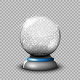 Snow glass transparent ball,  illustration on a transparen. T background. Decoration, crystal glass sphere 3d. New Year`s gift. The object for your Projects Stock Image