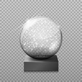 Snow glass transparent ball,  illustration on a transparen. T background. Decoration, crystal glass sphere 3d. New Year`s gift. The object for your Projects Stock Photography