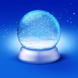 Snow globe. Realistic illustration of an empty snow-dome against a blue background - customize by inserting your own object Stock Images