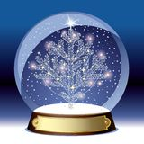 Snow globe. Isolated raster version of  snow globe with a silvre christmas tree within (contain the Clipping Path Stock Photos