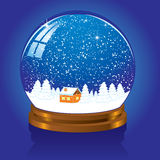 Snow globe. Christmas Snow globe with the falling snow, illustration Stock Photos