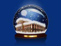Snow Globe. Realistic illustration of an snow-dome against a blue background Stock Image