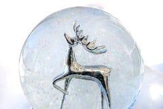 Snow globe. A silver reindeer in a snow globe stock photos