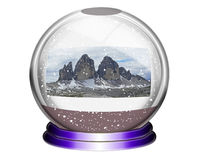 Snow globe. The Three Zinnen in a snow globe Stock Photos
