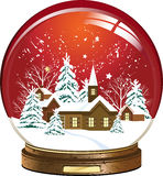 Snow globe. With a town. All elements and textures are individual objects. Vector illustration scale to any size Royalty Free Stock Images