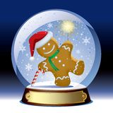 Snow globe. Isolated raster version of the  snow globe with a gingerbread man with a sparkler within Stock Image