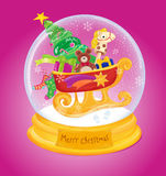 Snow globe. Christmas glass rod with a ball of snow snegos gifts midvedem horse tree and snow sopozhkami Christmas star Royalty Free Stock Photo