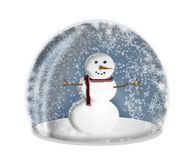 Snow globe. Snowman in a snowglobe vector illustration