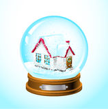 Snow globe. Realistic snow globe with a home inside Stock Photography