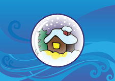Snow globe with background. Snow globe with snow-covered lonely hut and fir-tree inside, Christmas background, vector illustration Royalty Free Stock Photography