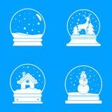 Snow globe ball christmas icons set, simple style. Snow globe ball christmas winter icons set. Simple illustration of 16 snow globe ball christmas winter vector stock illustration