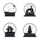 Snow globe ball christmas icons set, simple style. Snow globe ball christmas winter icons set. Simple illustration of 16 snow globe ball christmas winter icons royalty free illustration
