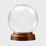 Snow globe. Big white transparent glass sphere vector illustration