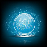 Snow globe with calligraphic merry christmas on blue. Background Royalty Free Stock Image