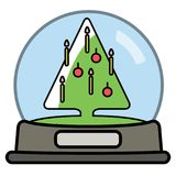Snow globe with Christams Tree. royalty free illustration