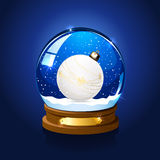 Snow globe with Christmas ball Royalty Free Stock Photo