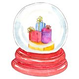 Snow globe with Christmas elements stock illustration
