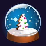 Snow globe with Christmas fir tree inside isolated on dark background. Christmas magic ball. Snowglobe  illustration. Winter. In glass ball, crystal dome icon Royalty Free Stock Photos
