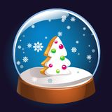 Snow globe with Christmas fir tree inside isolated on dark background. Christmas magic ball. Snowglobe  illustration. Winter. In glass ball, crystal dome icon Royalty Free Stock Photography