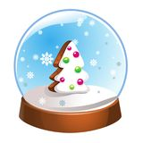 Snow globe with Christmas fir tree inside isolated on white background. Christmas magic ball. Snowglobe  illustration. Winte. R in glass ball, crystal dome icon Royalty Free Stock Images