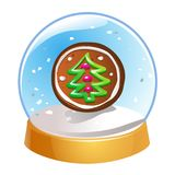 Snow globe with Christmas fir tree inside isolated on white background. Christmas magic ball. Snowglobe  illustration. Winte. R in glass ball, crystal dome icon Stock Photos