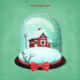 Snow globe with Christmas house. Holiday greeting illustration or postcard or poster with Snow globe Christmas house for Christmas or new Year. Computer graphics vector illustration
