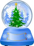 Snow globe with a Christmas tree Royalty Free Stock Images