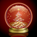 Snow Globe - Christmas Tree. Illustration of the Christmas season Royalty Free Stock Photo