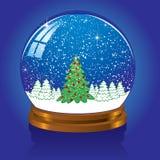 Snow globe with Christmas tree. Christmas Snow globe with the falling snow, illustration Stock Photos