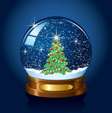 Snow globe with Christmas tree Royalty Free Stock Photos