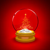 Snow Globe with Christmas tree Royalty Free Stock Photo