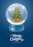 Snow Globe with Christmas Tree stock illustration