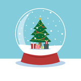 Snow globe with a Christmas tree inside. Snow globe with a Christmas tree inside for Christmas festival. Vector illustration Royalty Free Stock Photo