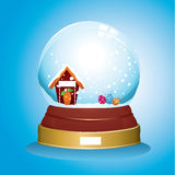 Snow globe with christmas tree and ornaments Stock Images