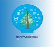 Snow globe with Christmas tree Stock Photos