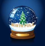 Snow globe with Christmas tree and snowflakes Royalty Free Stock Photography