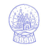 Snow globe with christmas trees and gingerbread house inside Royalty Free Stock Images