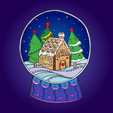 Snow globe with christmas trees and gingerbread house inside Royalty Free Stock Photo