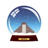 Snow globe city. Mexico. Winter travel . vector illustration