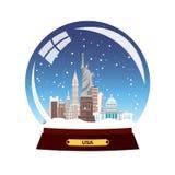 Snow globe city. New York in Snow Globe. Winter travel  illustration. Stock Photo
